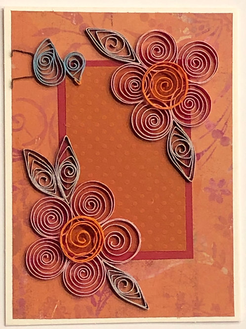Blue Bird Series –Floral Design in Reds and Browns