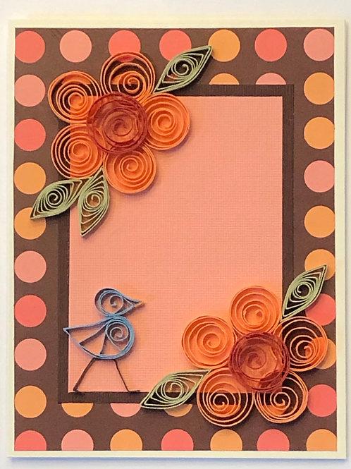 Blue Bird Series – Brown Orange and Peach Floral Design