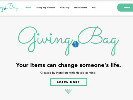 Giving Bag website goes live.  Bringing sustainable amenities to a hotel near you.