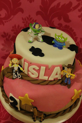 2 Tier Girly toy story cake