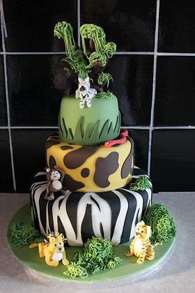3 Tier jungle animals cake