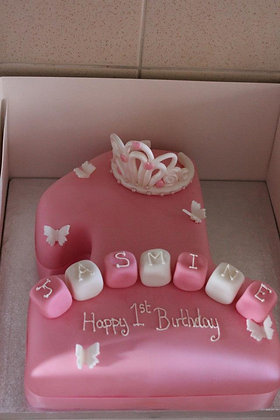 Blocks and tiara cake