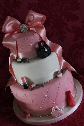 3 Tier pink & white cake