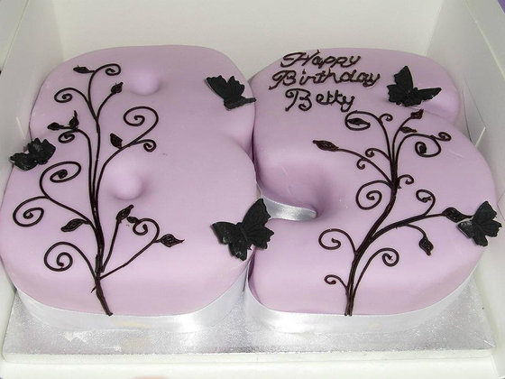 swirl & butterflies number cake
