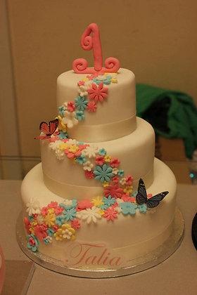3 Tier Cascading Blossom cake