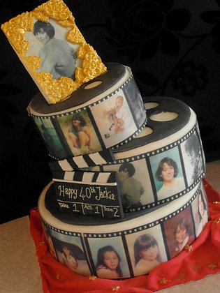 3 Tier pink film roll cake