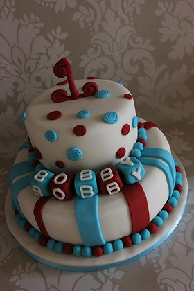 2 Tier stripes and circles cake