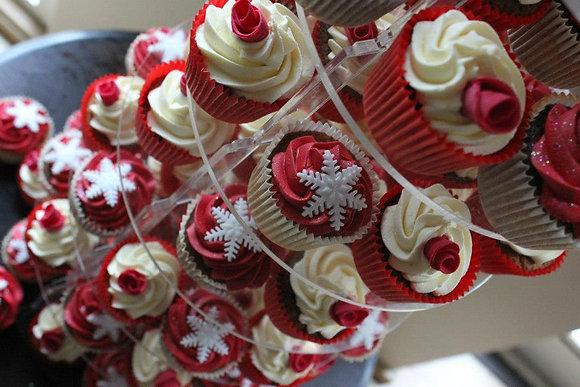 Rose & Snowflake cupcakes