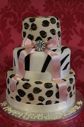 3 Tier animal print cake