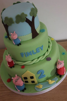 3 Tier peppa and george pig cake