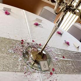 Beautiful pink and silver wedding setup
