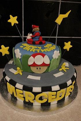 2 Tier Mario kart cake