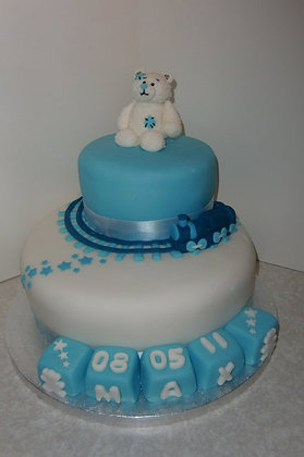 2 Tier teddy and train cake