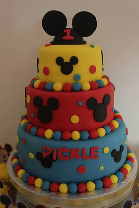 3 Tier colouful mickey mouse cake