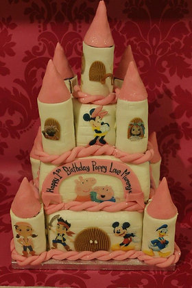 3 Tier Castle cake With Characters