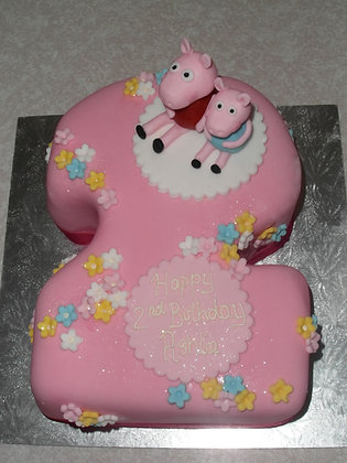 Peppa Pig Number Shaped Cake