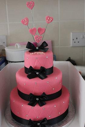3 Tier pink diamonds cake