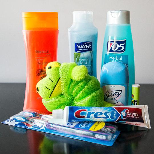 Blanket, Stuffed Animal, & Toiletries