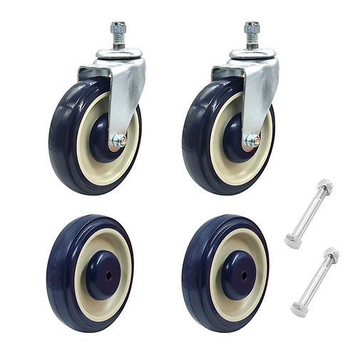 """ACS Shopping Cart Wheel Replacement Grocery Kit (4-pack) with Hardware   5"""" Cast"""