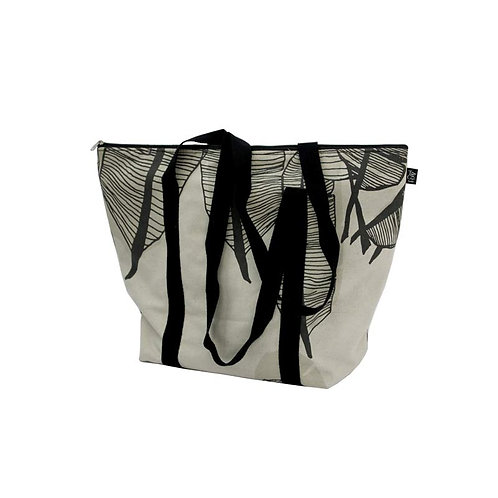 Bucket bag in Banana leaf coal and beach handles down
