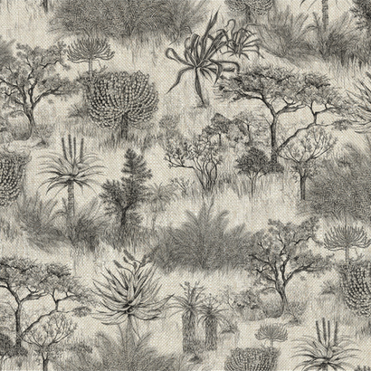 African Toile Charcoal on Linen