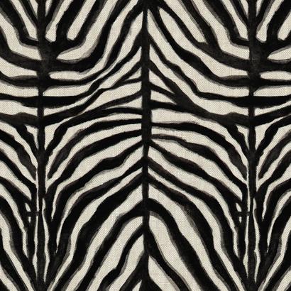 Zebra Dazzle black on linen