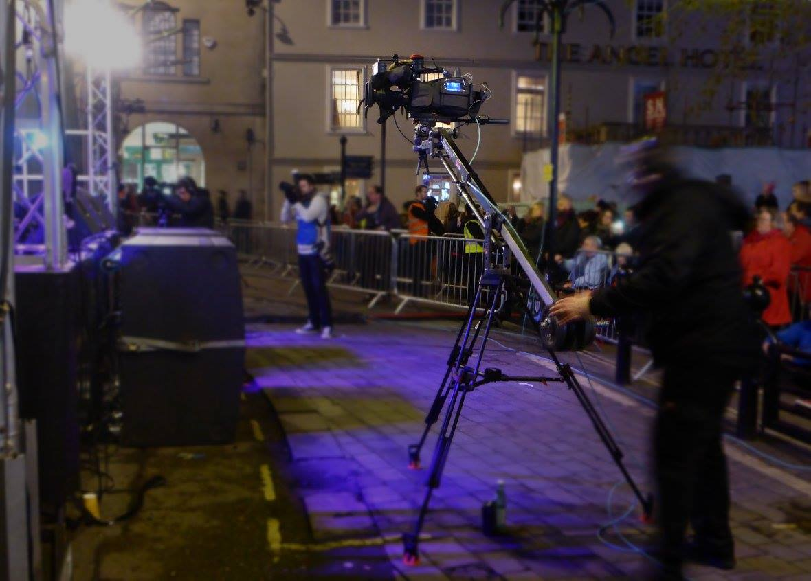 Filming with our camera jib.