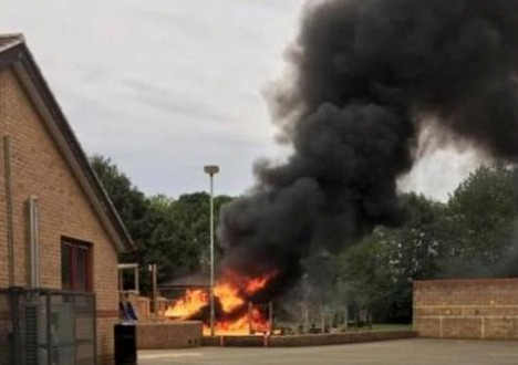 Hook Norton School Arson - Cameraman Oxfordshire