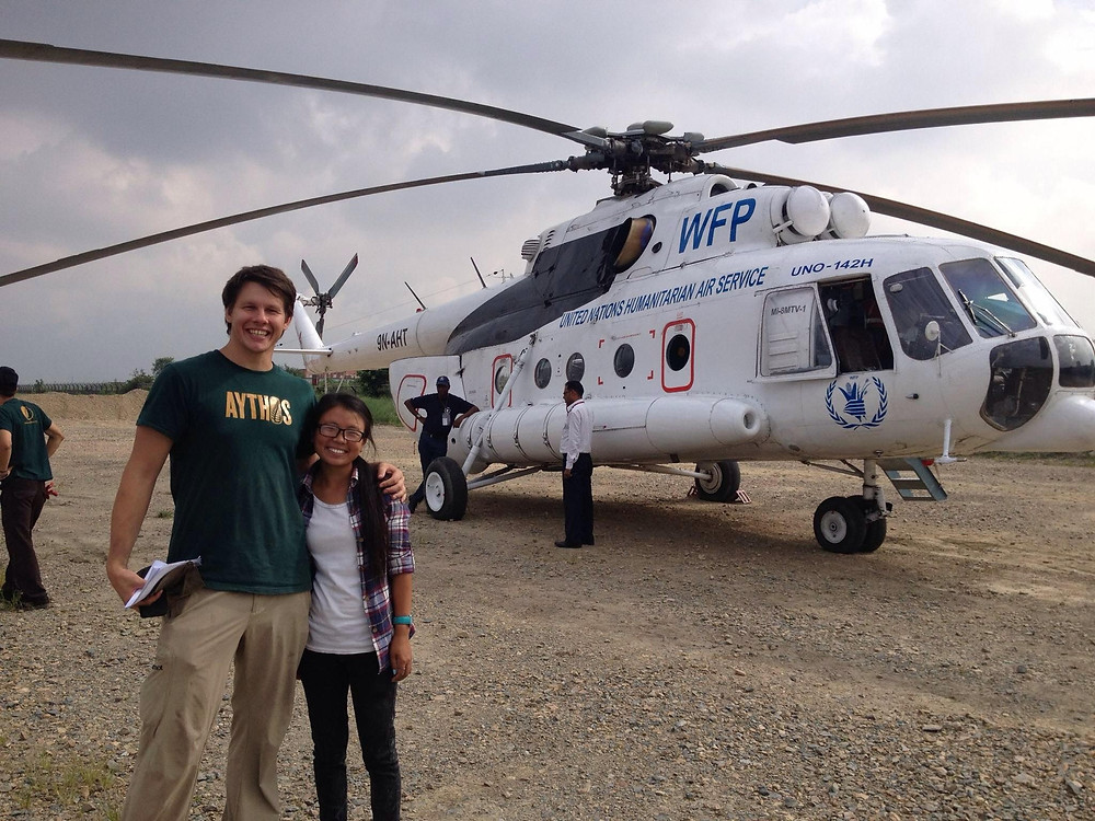 Shanti (right) and Beau Miller (left) just before World Food Programme supported delivery of supplies to remote villages by helicopter.