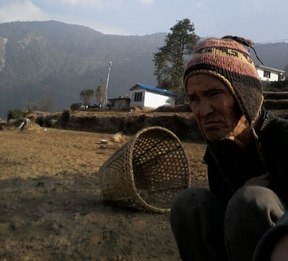 Gyamjo Sherpa reflects on his contributions to his community as he recognizes his age.
