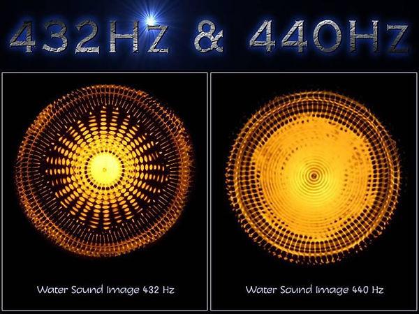 réaction de l'eau avec 440 hz et 432 hz