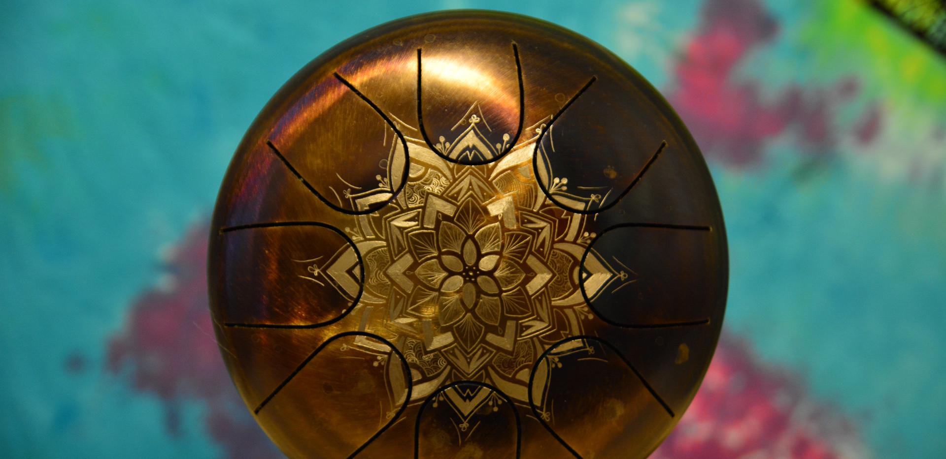 mandala petit drum tankdrum - instrument de musique - hang - handpan - yoga