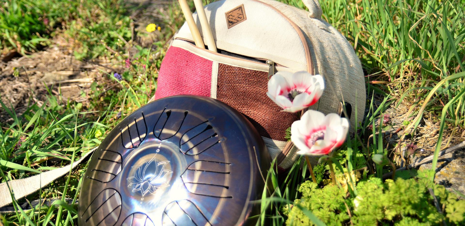 jardin fleuri pour notre drum et housse