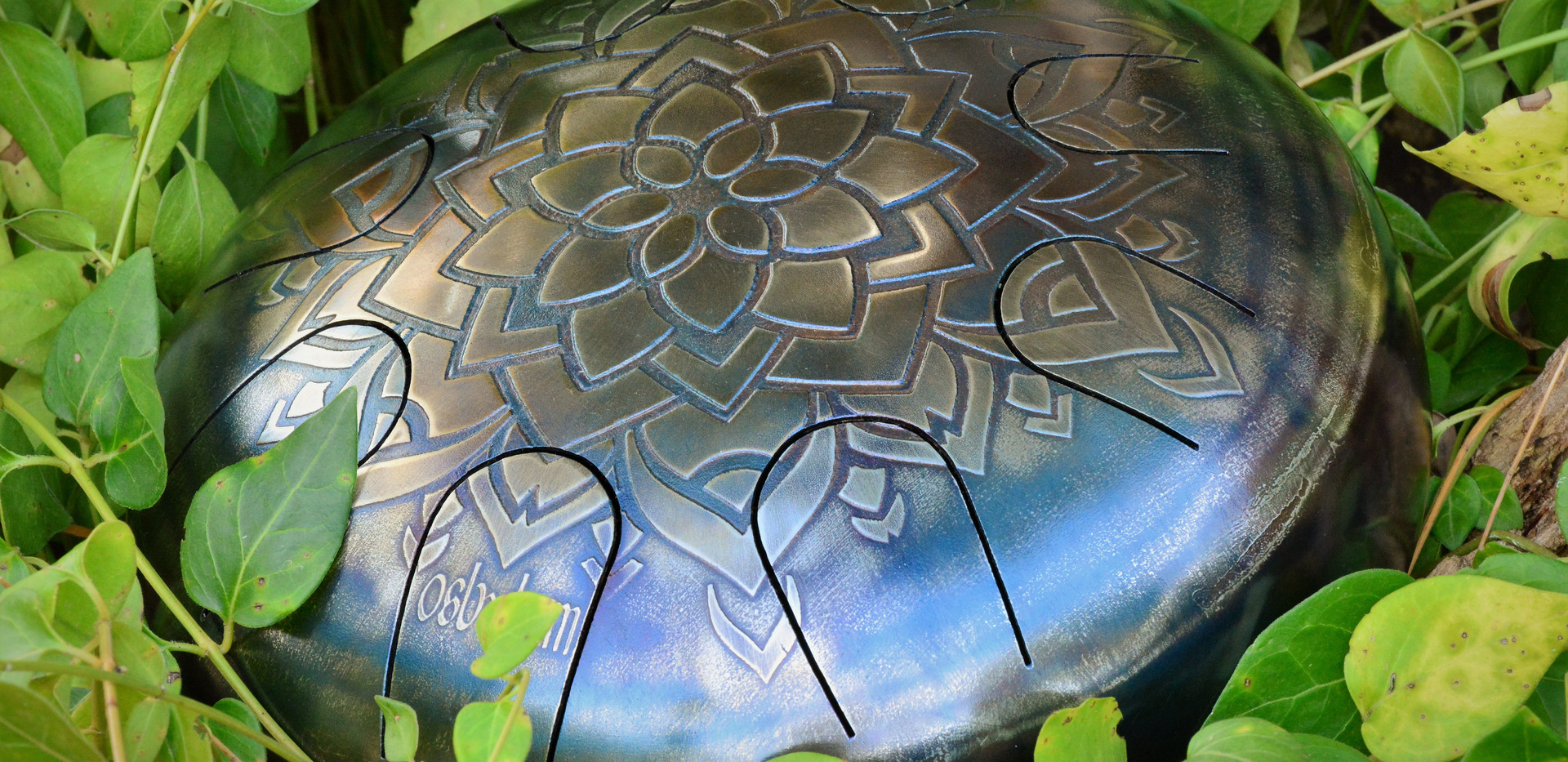 jardin et nature mandala en relief tankdrum - instrument de musique - hang - handpan - yoga