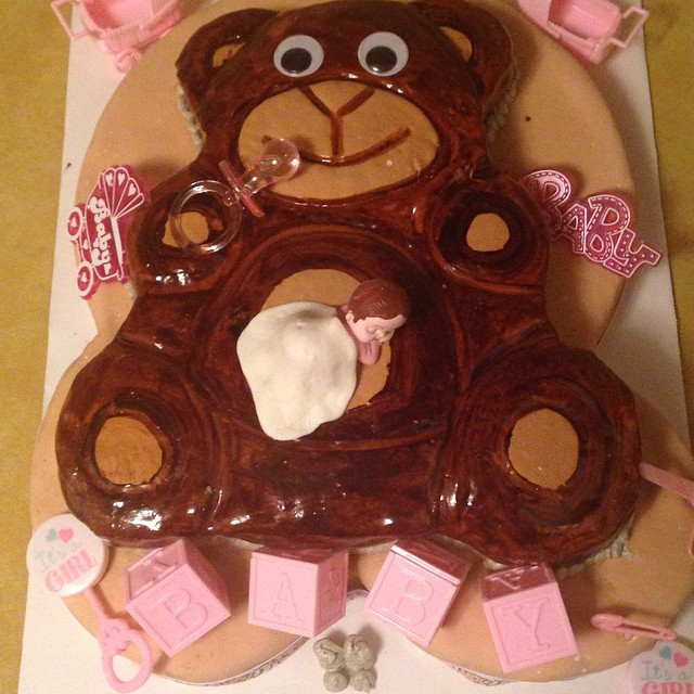 Not A Peep! She's fast asleep!_#babyshower #newborn #cake #fondant #pink #brown #teadybear #fondantk