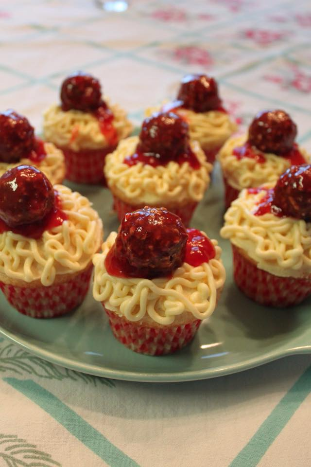 Spaghetti & Meatballs Cupcakes
