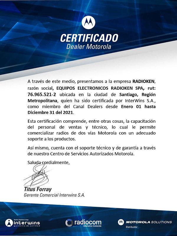 Certificado InterWins - Radioken 21'1024