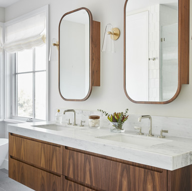 Master Bathroom ~ Walnut Cabinetry and C