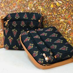 Block printed bag - sling bag
