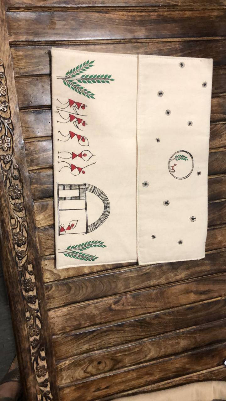Laptop sleeve - canvas - warli hand painted