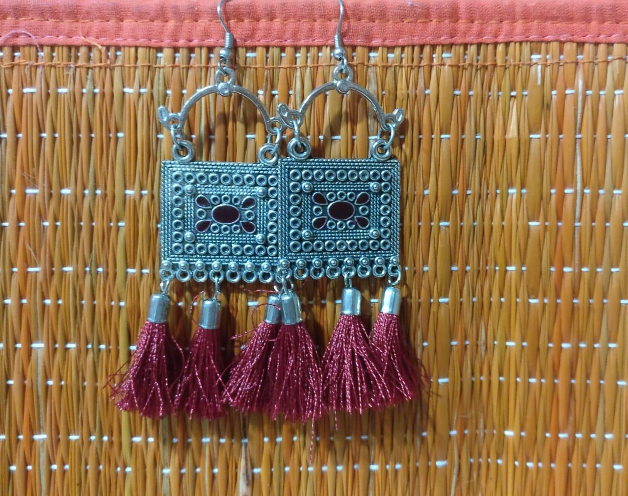 Earrings - metal tassel