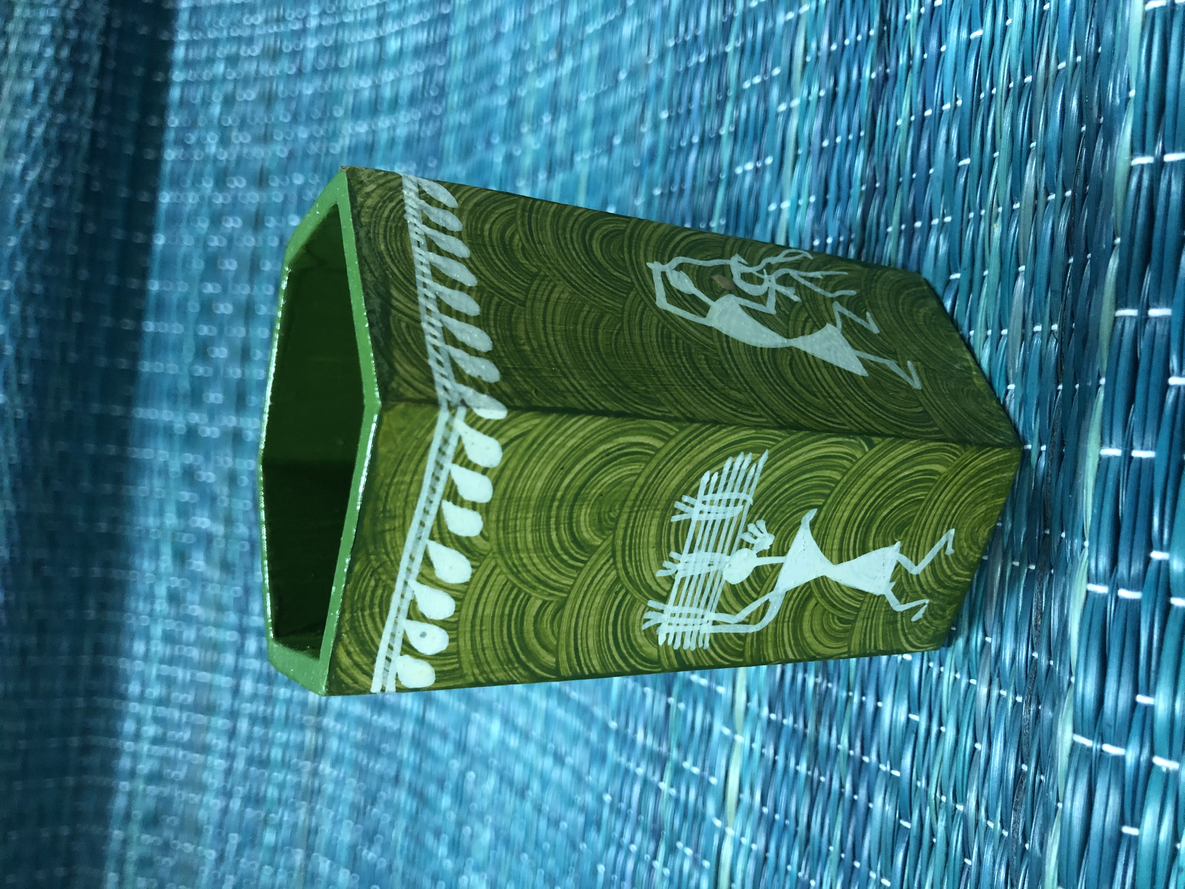 Pen stand - (green) warli painted
