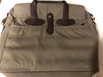 accessories-Canvas Laptop Bag with Leath