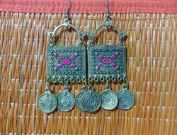 Earrings - brass - square coin dangler