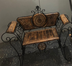 Wooden and wrought iron chair