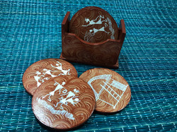 Coasters (4 pieces)- Warli Painted