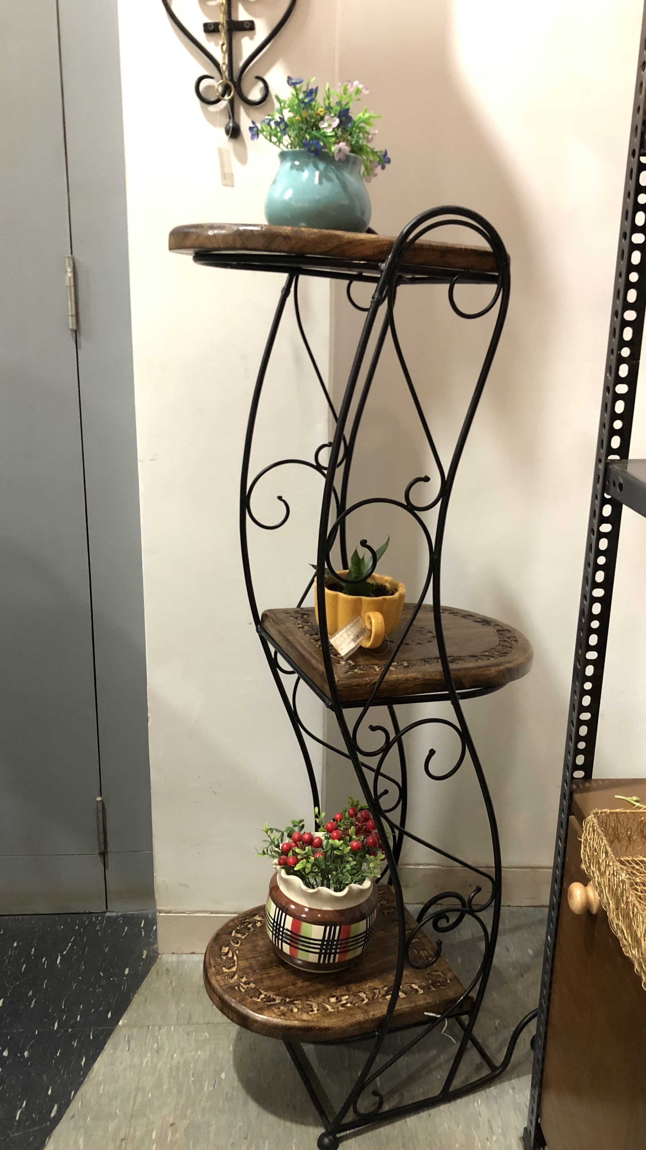 Wooden-iron plant holder
