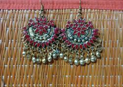 Earrings - Brass - red afghani dangler.
