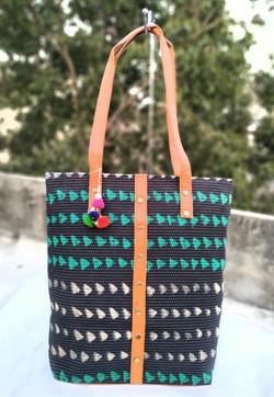 Block printed tote bag with danglers