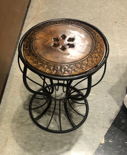 Wooden and wrought iron stool